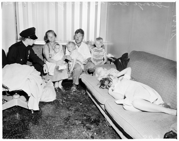 Destitute family (neg. shot at Sheriff's Press Room), 1960