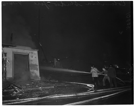 Columbia Studio farm fire in Burbank, 1953