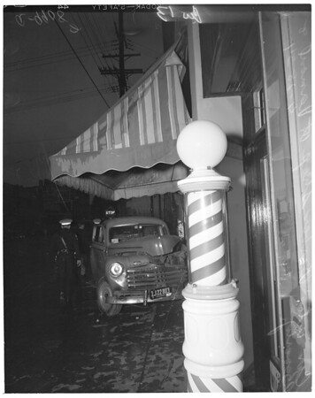 Car into barber shop at Vermont [Avenue] and Beverly [Boulevard], 1954