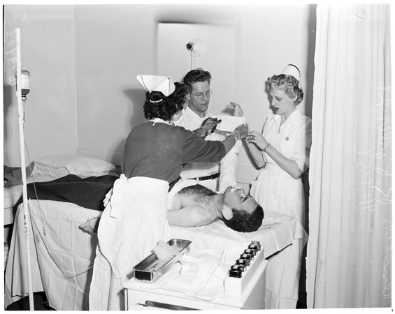 Man burned in hotel gas blast (Aberdeen Hotel, 134 East 1st Street, Long Beach, 1954