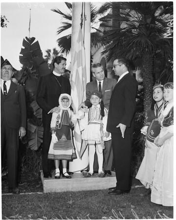 Greek flag raising, 1960