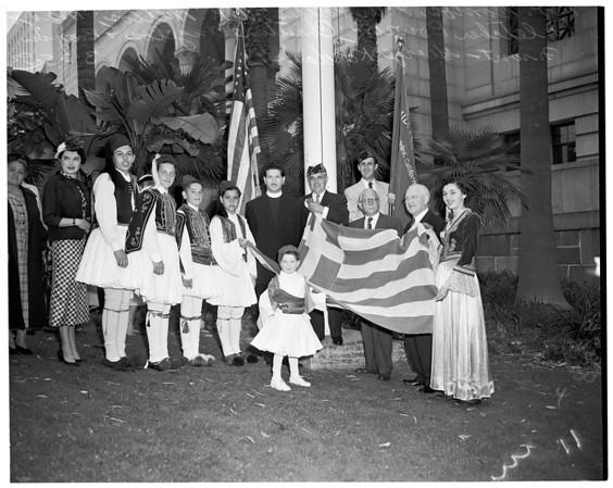 Greek flag raising, 1953