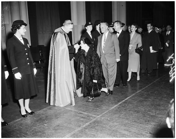 Cardinal McIntyre at Shrine Auditorium, 1953