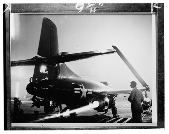 Douglas F3D Skyknight naval night fihter in Los Angeles Airport, ca.1953