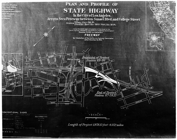 Arroyo Seco -- Harbor Freeway link, 1953