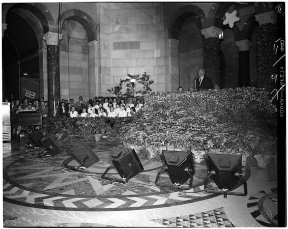 Christmas party in City Hall rotunda, 1952