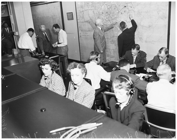 Telephone company emergency, 1953