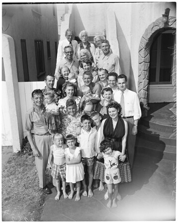 Detail 3 of 4, Family reunion (mother and six offspring together again first time in 45 years), 1953