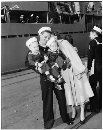 USS Rupertus arrives -- Long Beach, 1953
