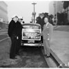 Detail 3 of 3, New sign on Los Angeles police car, 1952