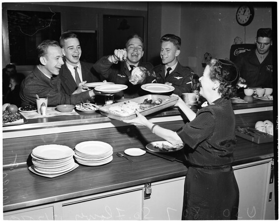 Christmas at USO (United Service Organizations) at 807 South Flower Street, 1953