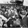 Adlai Stevenson arrival at airport, 1956
