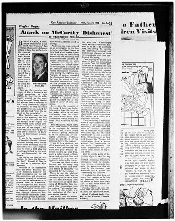 Copy of Westbrook Pegler's column for Monday, Novemver 24th 1952, 1953