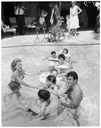 Swim party for Cerebral Palsy children, 1960