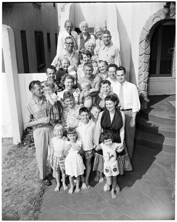 Detail 2 of 4, Family reunion (mother and six offspring together again first time in 45 years), 1953