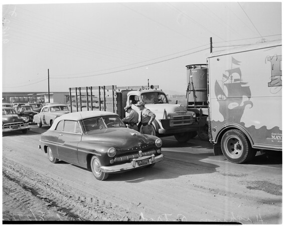 Detail 2 of 4, California Highway Patrol traffic road check, 1952