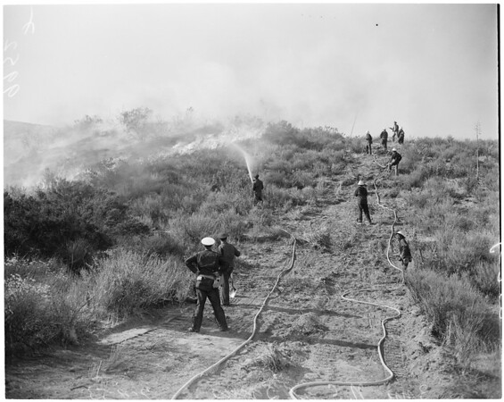 Detail 2 of 17, Fire at Dry Canyon 3 miles North East of Saugus, 1953