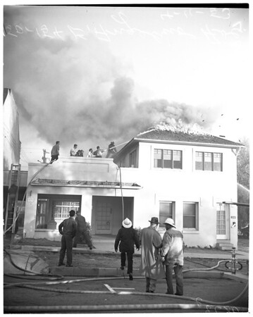 Blanchard Lumber Company fire (building at 150-154 East Angelino Avenue), 1953