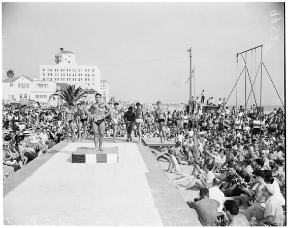 Detail 1 of 2, Mr. Muscle Beach contest (Santa Monica), 1953