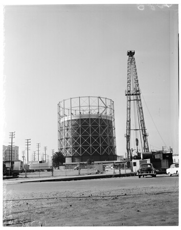 Detail 5 of 6, Oil well being drilled near downtown Los Angeles, 1960