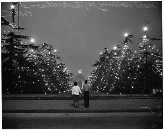 Coliseum Christmas trees, 1953