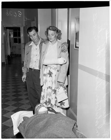 Bar brawl in attempt hold up (victims at Georgia Street Receiving Hospital), 1953