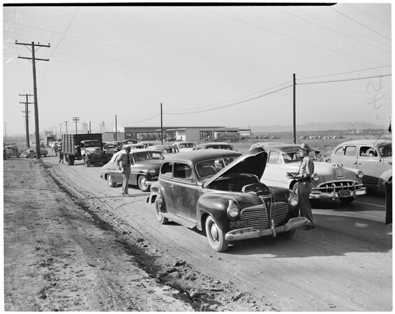 Detail 3 of 4, California Highway Patrol traffic road check, 1952