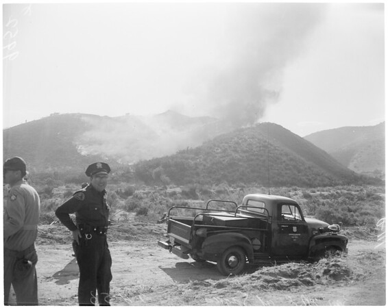 Detail 1 of 17, Fire at Dry Canyon 3 miles North East of Saugus, 1953
