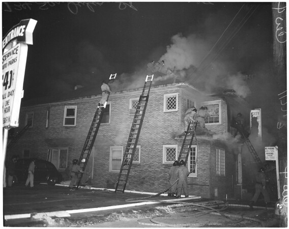Fire in house at 734 San Julian Street, 1956
