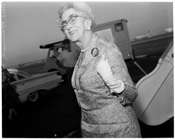 Detail 3 of 4, Vice President Nixon's mother returns to Los Angeles, 1960