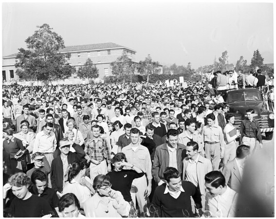 Detail 14 of 18, UCLA victory rally, 1953