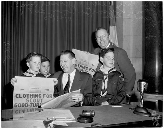 Detail 1 of 2, Cub Scouts visit City Council, 1953
