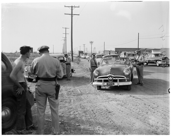Detail 4 of 4, California Highway Patrol traffic road check, 1952