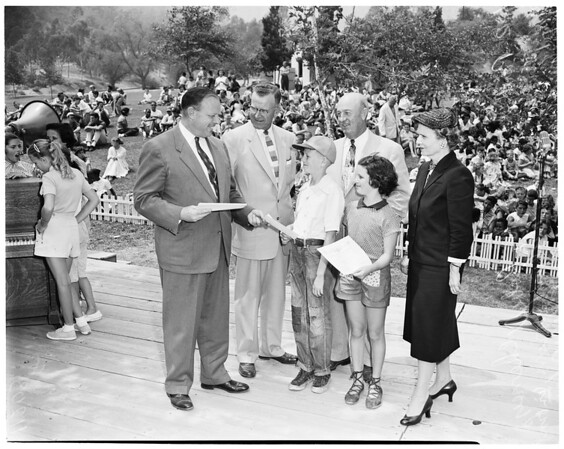 Sixth annual Safety Leader picnic at Griffith Park's Pepper Tree Lane, 1954