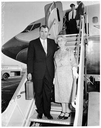 Detail 1 of 4, Vice President Nixon's mother returns to Los Angeles, 1960