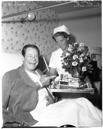 In hospital with broken shoulder, 1960