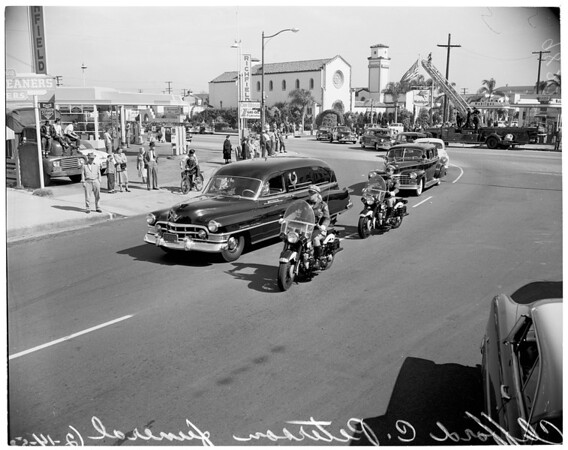Funeral of Clifford C. Peterson, California Highway Patrol Commissioner, at Mottel's Mortuary, Long Beach, 1953