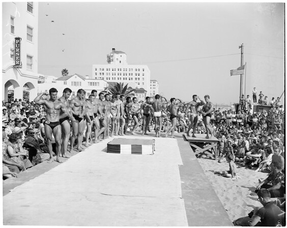 Detail 2 of 2, Mr. Muscle Beach contest (Santa Monica), 1953