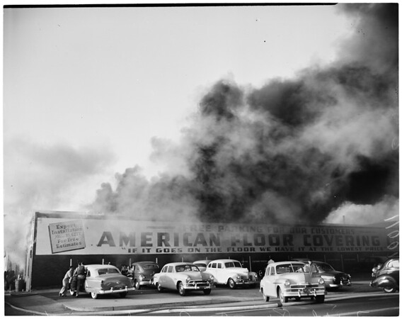 Detail 17 of 19, Fire at Pico Boulevard and Broadway, 1954