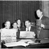 Detail 2 of 2, Cub Scouts visit City Council, 1953