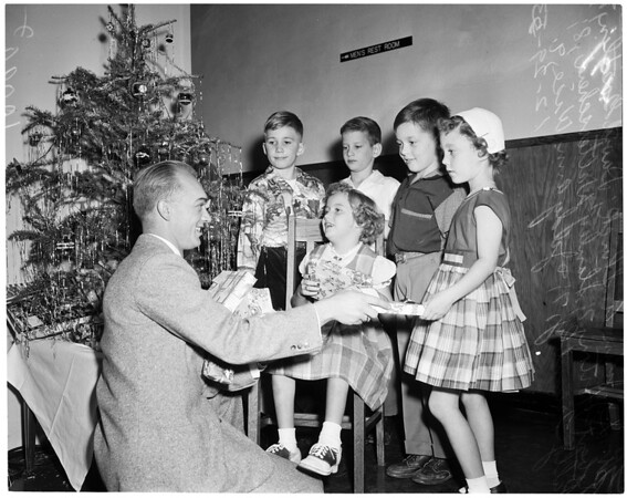 Christmas party at College of Osteopathic Physicians and Surgeons, 1953