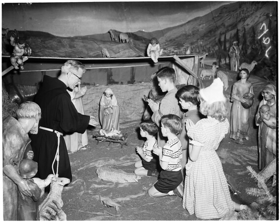Nativity scene with children at Saint Joseph's Church, 1953