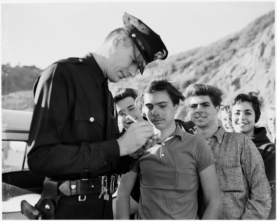 Boy rescued from cliff, 1959