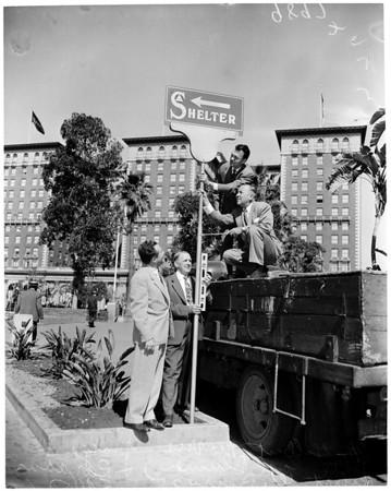 Civil defense at Pershing Square garage, 1953
