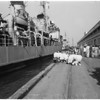 USS Rupertus arrives -- Long Beach, 1953
