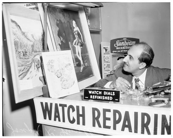 Art exhibit (Gardena Community Art Exhibit) displayed in Clark Market, 14990 south Crenshaw Boulevard, 1953