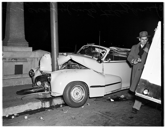 Auto crash on North Main Street bridge, 1952
