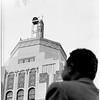 Air raid sirens atop hall in Van Nuys, 1951