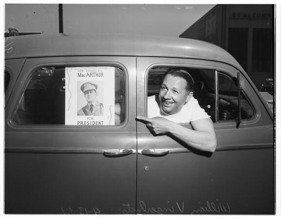 MacArthur for president -- sticker on car, 1951
