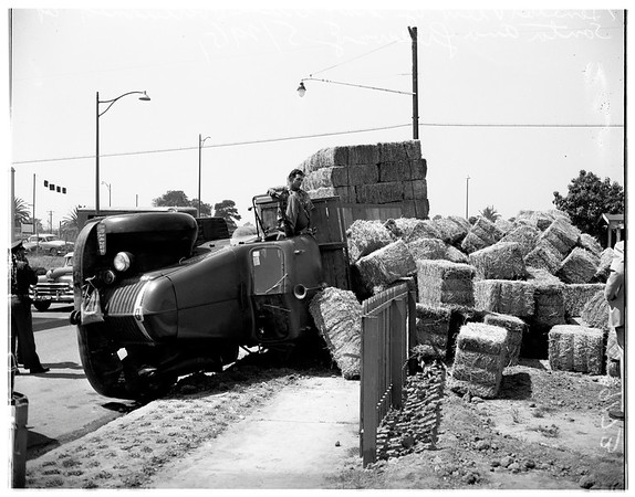 Hay truck overturns (Santa Ana freeway Eastern and Ditman Avenue), 1951